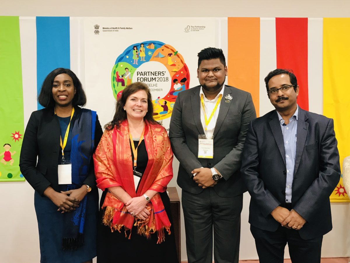 CORE Group's Executive Director, Lisa Hilmi, is joined by colleagues, (from the left), Dr. Folake Olayinka, Immunization Team Leader of USAID's flagship Maternal and Child Survival Program (MCSP), Tauseef Rasheq Ahda, youth representative, and Debarshi Dutta, MasterCard South Asia.