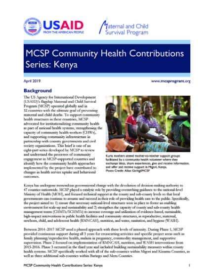 cover page for community brief